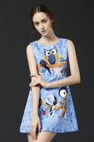 Free shipping 2014 woman new fashion autumn winter sleeveless owl diamond casual dress empire A line dress