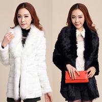2014 autumn and winter fur coat medium-long women's wool fur fox fur