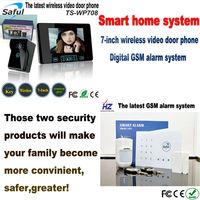 "Free shipping smart home system digital GSM alarm sytsem & 7"" wireless video door phone for villa"
