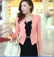 2014 New blazer women corsage plus size blazer jacket for woman work wear coat top white,pink,dark pink,black L,XL,XXL,3XL,4XL