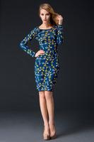 Free shipping 2014 new fashion woman long sleeve print wool hobble sheath knee length dress autumn winter dress