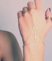 Multi Bracelet Bangle Slave Chain Link Interweave Finger Hand Harness Gold bracelets & bangles