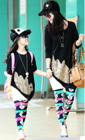 2014 Spring/Autumn New Fashion Women's Bright Paillette Shirt+Smile Face Pants Family Clothing Mother Daughter Clothing Set