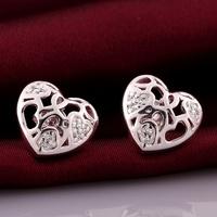 VSE668 Fashion Jewelry Love Earring 925 Sterling Silver Plated Stud Earrings for women 2014 wholesale