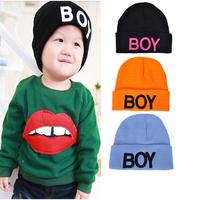 2014 new autumn kids BOY letter baby hat knitted hat for boys/girls 4 color orange/blue/black 2-6years old children cap