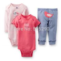 Autumn & winter Baby clothes set 3-Piece,2014 Original Carters Baby Boys Clothings Sets,Carters Baby Bodysuits+Pants