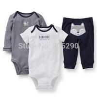 Autumn &winter Baby clothes set 3-Piece,2014 Original Carters Baby Boys Fox,dark blueClothings Sets,Carters Baby Bodysuits+Pants