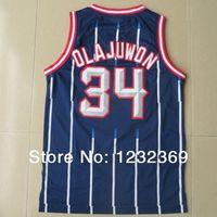Fast Free Shipping Hakeem Olajuwon #34 Houston Basketball Jersey, New Meterial Rev 30 Embroidery Retro Basketball Jersey