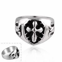 MR020 Retro Vintage Jesus Cross Finger Rings Punk Style 316L Stainless Steel Item New Men Jewelry Accessories Wholesale & Retail