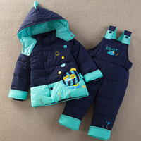 Child down coat set thickening baby bib pants open file red unisex