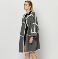 New 2014 Women Genium Wool Trench Coat Khaki Gray Color Block Long Sleeves Loose Winter Coats Brand Overcoat Fashion Casual Wear