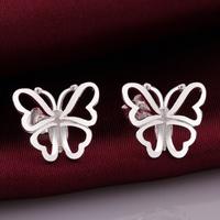 VSE677 Fashion Jewelry Butterfly Earring 925 Sterling Silver Plated Stud Earrings for women 2014 wholesale