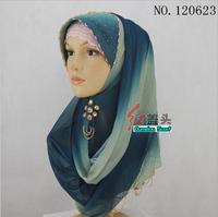 Oumeina dress accessory Muslim kerchief hijab knit fabric lace mesh beaded woman long scarf HGT120623