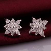 VSE669 Fashion Jewelry Cluster Flower Earring 925 Sterling Silver Plated Stud Earrings for women 2014