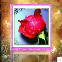 Free shipping 5D diamond Painting Diy kit Round diamond paste diamond draw Home Decoration Dripping Rose