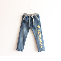 New 2014 Children Trousers Boys' Jeans Soft Denim Pants For Girls Letter Pattern Kids Fall Clothes Child Wear