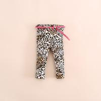 2014 atumn Leopard grain belt jeans of the girls