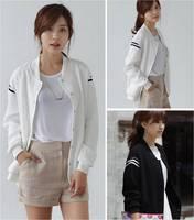 1pc New Fashion Casual Womens College University Letterman Blazer Stripe Jumper Coat Sportswear Baseball Jacket Sweat Suit