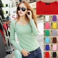 C30 Fashion Women Autumn Winter Long milk silk T-Shirt Knitwear Girls T Shirts Solid Color Top Tee Female Elegant cloth Shirt