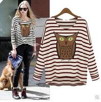 2014 New plus size women fall clothing  long-sleeved striped shirt owl loose bat sleeve shirt woman S-XL Free Shipping