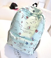 Free shipping! Wholesale high quality 2014 new fresh fashion casual canvas embroidery small backpack, school bags