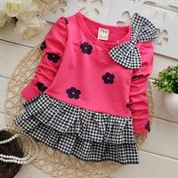 HOT Kids clothes Girls long-sleeved t-shirt Fashion baby Girls dress princess 2014 autumn children outerwear coats jackets HC048