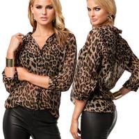 A92*New Women Chiffon Shirts Leopard Print Loose Long Sleeve Chiffon Blouses Ladies Casual Tops for Autumn blusas femininas 2014