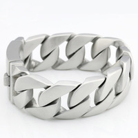 """2014 PUNK ROCK  8.26"""" 26mm Heavy Brushed Style Stainless Steel Mens Biker Chains Bracelet Wholesale&Free shipping"""
