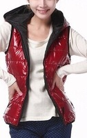 2014 autumn and winter women's vest outerwear fashionable casual with a hood down cotton vest