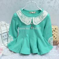 New 2014 2015 spring/autumn infant dress, newborn baby girls long-sleeved dress t-shirt, lace flower cute dresses  _15