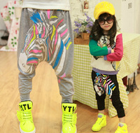 free shipping spring and autumn period new Unique Design zebra boy girl's pants Casual cotton children Harem Pants