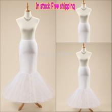 Free shipping In Stock High Quality White Trumpet Medmaid wedding petticoat underskirt crinoline for dresses 1 Hoop Bone Elastic(China (Mainland))