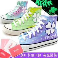 Tfboys hand-painted shoes canvas shoes four leaf grass luminous shoes Canvas shoes