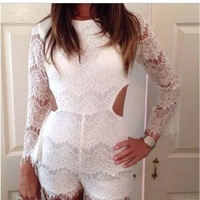 Sexy jumpsuits lace stitching hollow Halter conjoined female personality jumpsuits rompers backless jumpsuit skeleton bodysuit