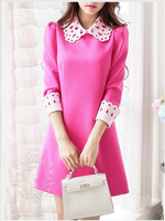2014 Autumn New style beautiful   retro laser cut collar A pendulum Slim women's and student dress