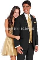 S23 2014new black two button notch lapel with trim wedding Groom Bridegroom Tuxedo business Suit for men (jacket+vest+pants+tie)