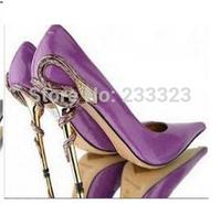Strange heel blue/black pointed to wedding shoes Snake heel Spike heel patent leather pumps