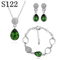 PS122 Wholesale fine 100% Real S925 pure Sterling silver necklace earrings jewelry set