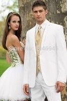S33 2014 slim fit white two buttons notch lapel wedding Groom Bridegroom Man Tuxedo business Suit for men(jacket+vest+pants+tie)