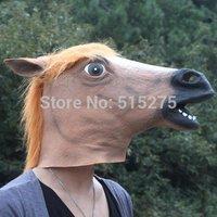 Creepy Horse Mask Head Halloween Costume Theater Prop Novelty Latex Rubber