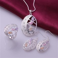 S0729 Wholesale, free shipping hot 925 sterling silver jewelry sets, fashion jewelry necklace&ring&earrings  Jewelry Sets