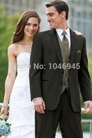 S30 new fashion black two buttons notch lapel wedding Groom Bridegroom Man Tuxedo business Suit for men(jacket+vest+pants+tie)