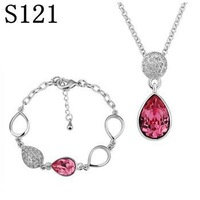 PS121 Wholesale fine 100% Real S925 pure Sterling silver necklace earrings jewelry set