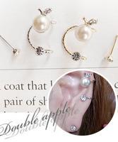 Small Apple Pearl Stud Earrings Brand Zircon Rhinestone Spiral Set Earring Jewelry For Women