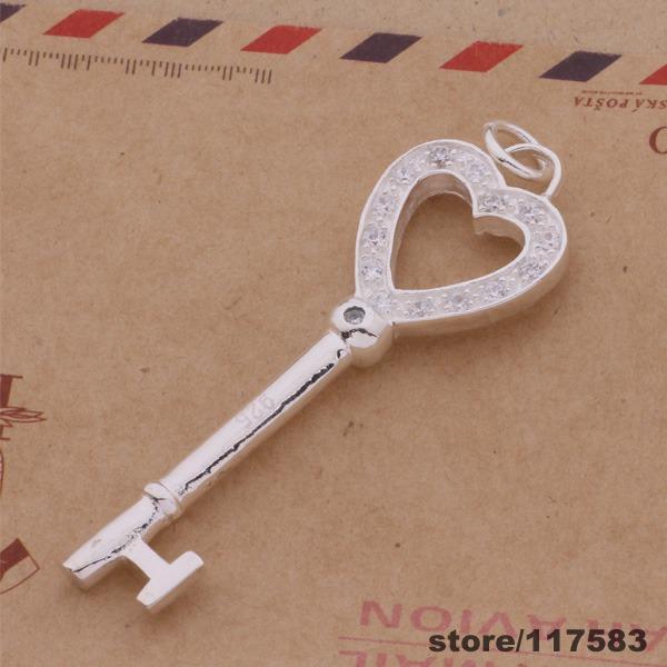 AN433 925 sterling silver Necklace 925 silver fashion jewelry pendant key heart /edkamura awvajoca(China (Mainland))