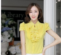 Free shipping2014 New Fashion Summer women clothing casual plus size blouse Slim Wear short-sleeved shirt Slim Korean blouse