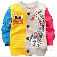 Free shipping Children Spring Autumn Clothing Boys Girl Giraffe Print Cotton Cardigan Kids Jacket Outwear Coats 5 pcs/lot