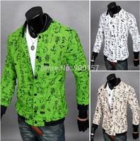 2014 autumn Men's fashion Abstract print jacket male plus size short coat outerwear for man
