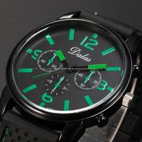 Dalas Men Fashion Black Green Dial Alloy Case Black Silicon Strap Analog Male Clock Relogio Quartz Casual Wrist Watch / WAA755