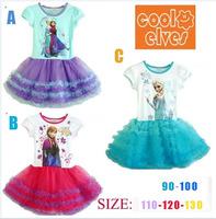 Retail+New 2014 Children frozen queen elsa in princess TuTu dress baby girl party dress,fashion summer Baby & kids one pieces,